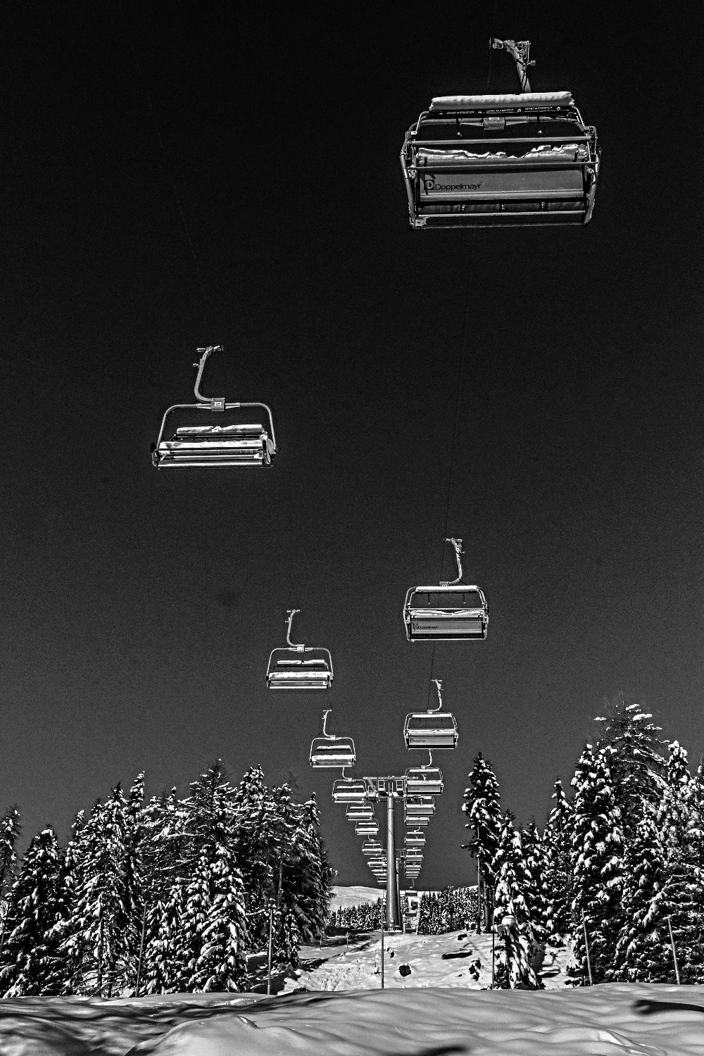 Ski Lifts in Black and White