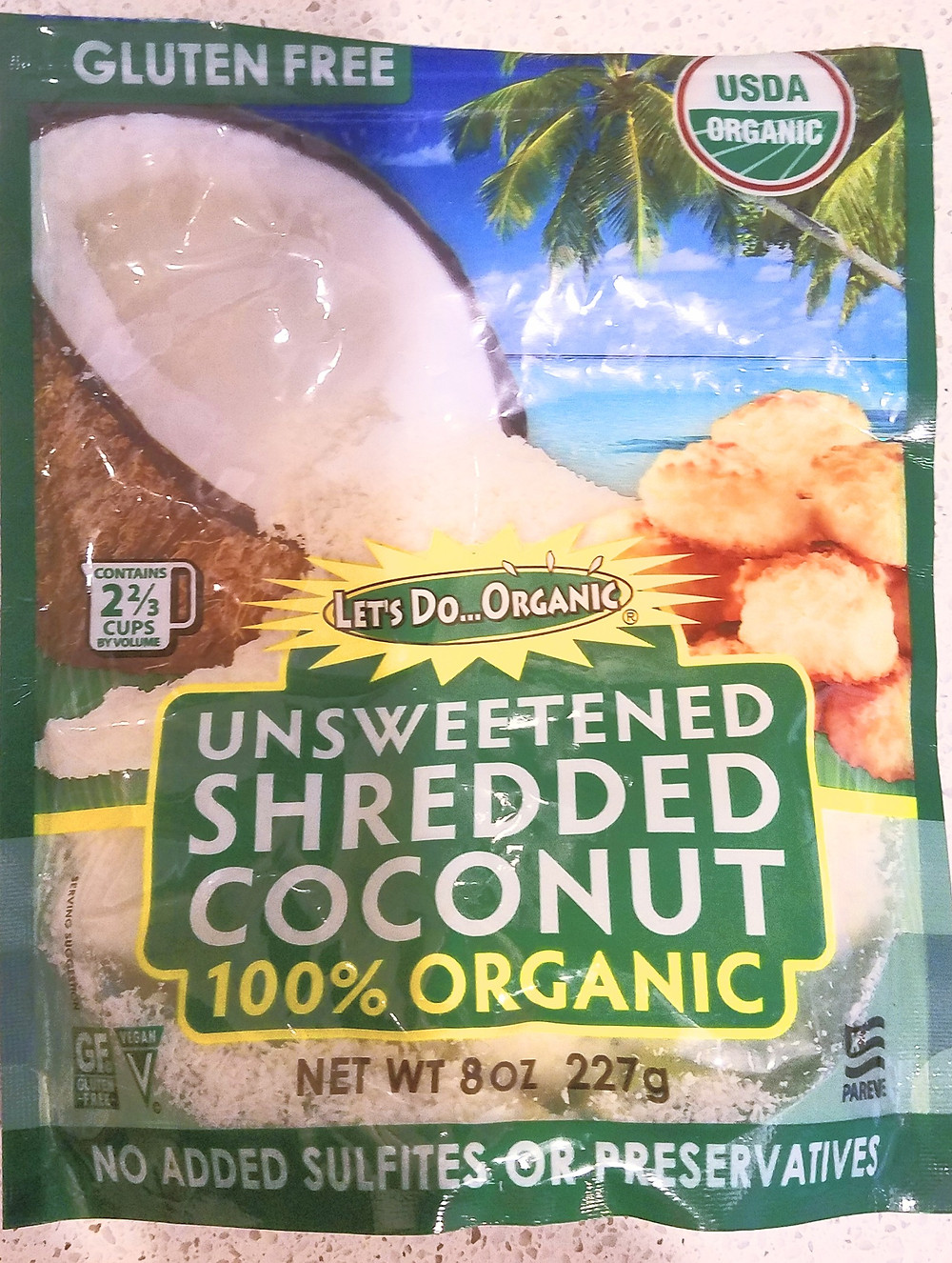 Photo of unsweetened shredded coconut