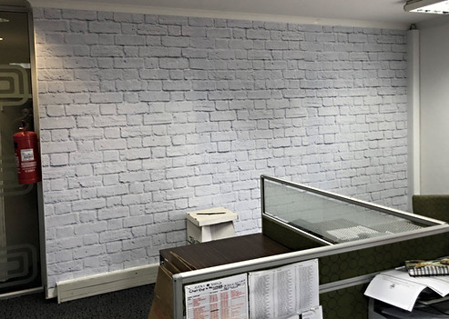 White wash rough brick wallpaper - WHK