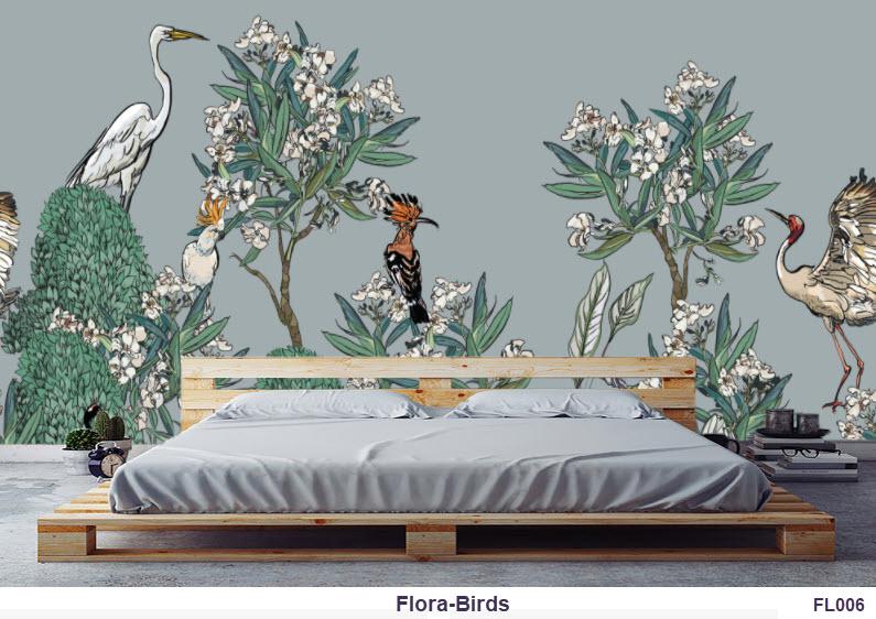 Flora-Birds Wallpaper