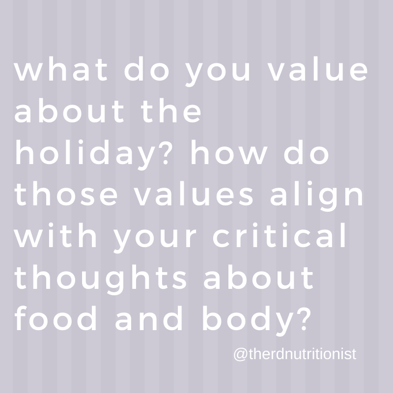 text image: what do you value about Thanksgiving? How do those values align with critical thoughts about your body?
