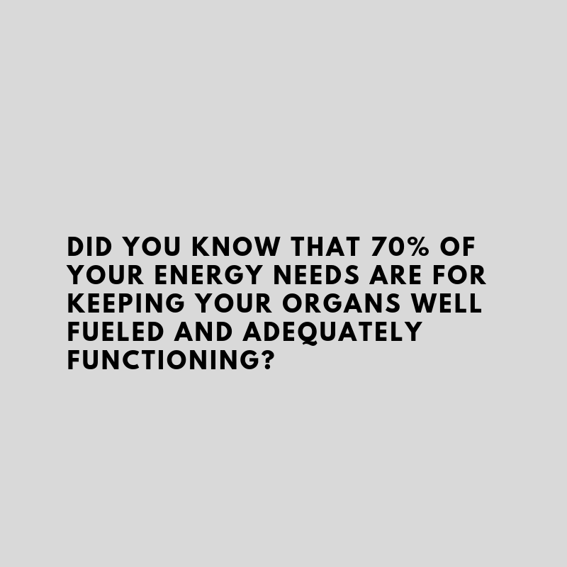 70% of your energy needs are for organs like your brain, heart and lungs.