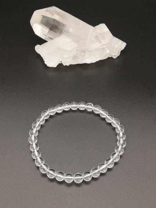 Bracelets billes en Cristal de roche (Quartz)