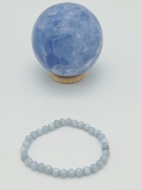 Bracelet billes en Calcite Bleue