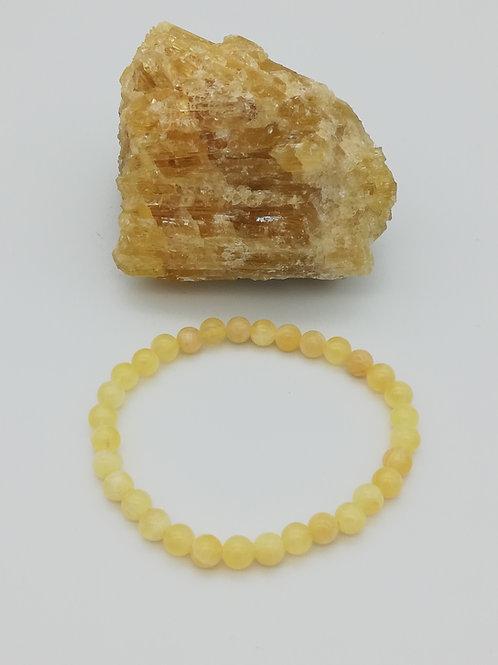 Bracelets billes en Calcite Jaune-Orange