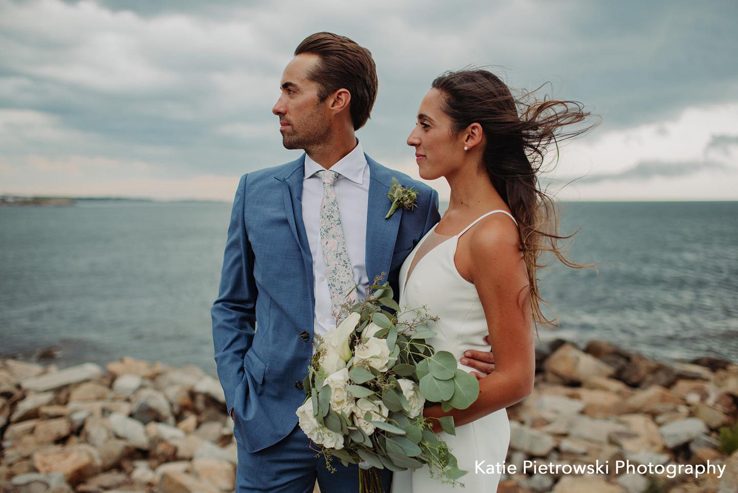 Couple with White Flowers and Eucalyptus Bouquet and Boutonniere, Atlantic Rd