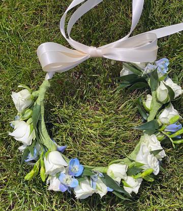 White and Blue Head Wreath