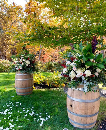 Wine Barrels with Florals and Greens at Private Residence