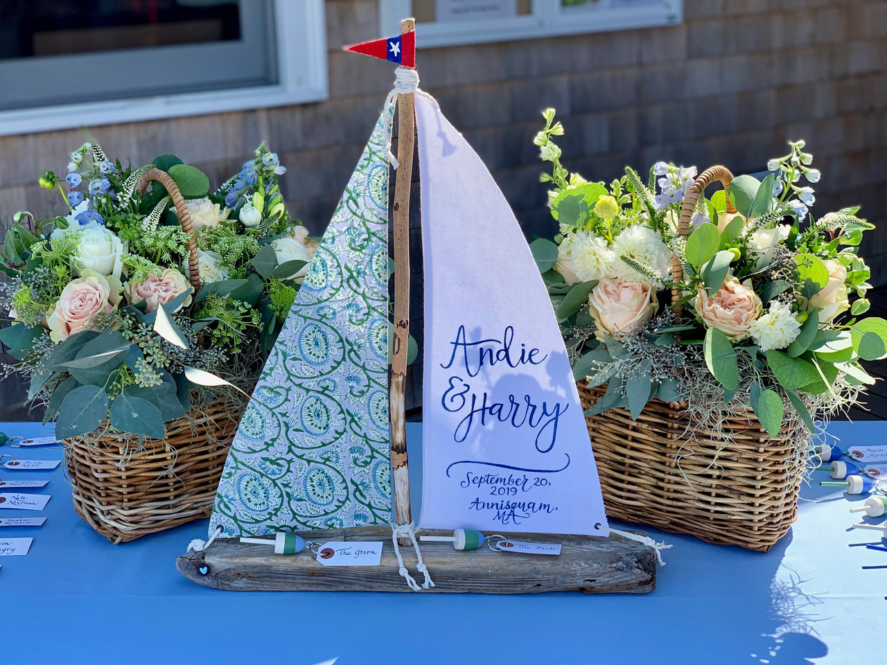 Place Card Table and Basket Arrangements, Annisquam Yacht Club