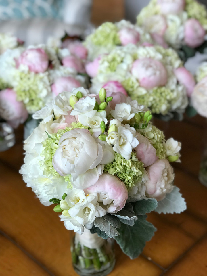 Bouquets of Pale Pink and White