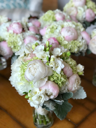 Bouquets of Pale Pink and White Peonies