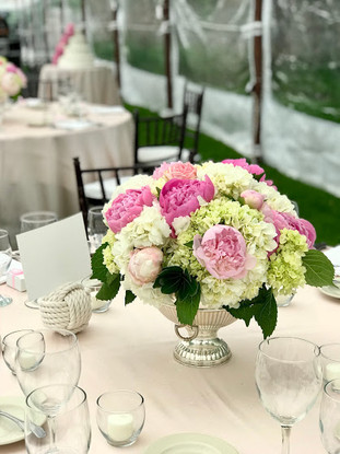 Centerpiece in Pink, White and Green Peonies & hydrangea