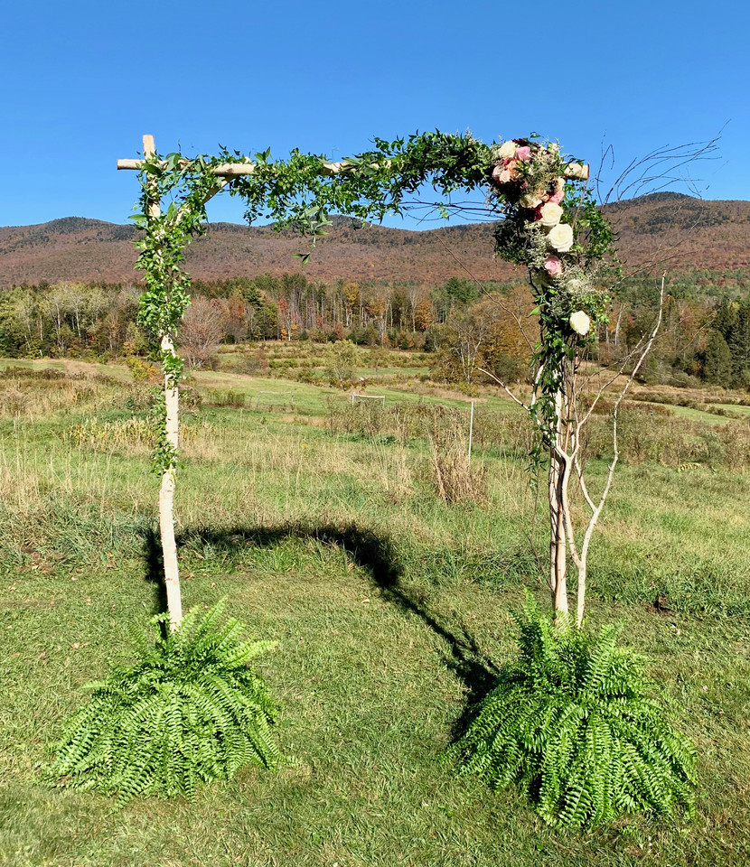 Two Pole Birch Arbor with Floral Decoration