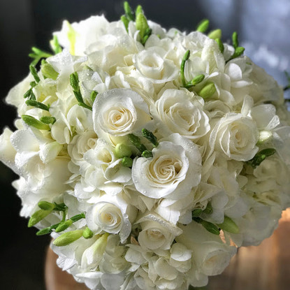 All White, Hydrangea, Rose and Freesia Bridal Bouquet