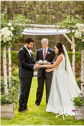 Bride and Groom under Birch Arch Chuppah, Grafton Esta