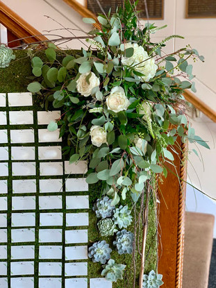 Succulent and Moss Place Card Board with Floral Spray