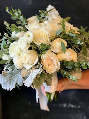 Bridal Bouquet of Garden Roses  & Eucalyptus