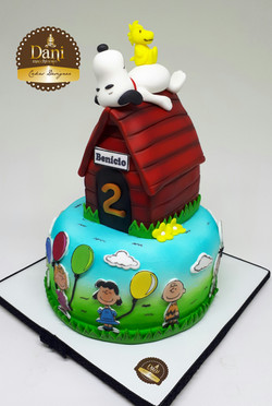Bolo Desenho Snoopy Casinha