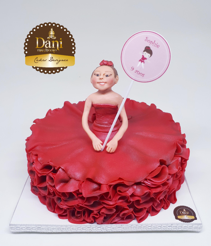 Bolo Bailarina Vermelha