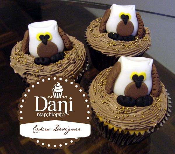 Cupcakes Corujas com Creme Chocolate