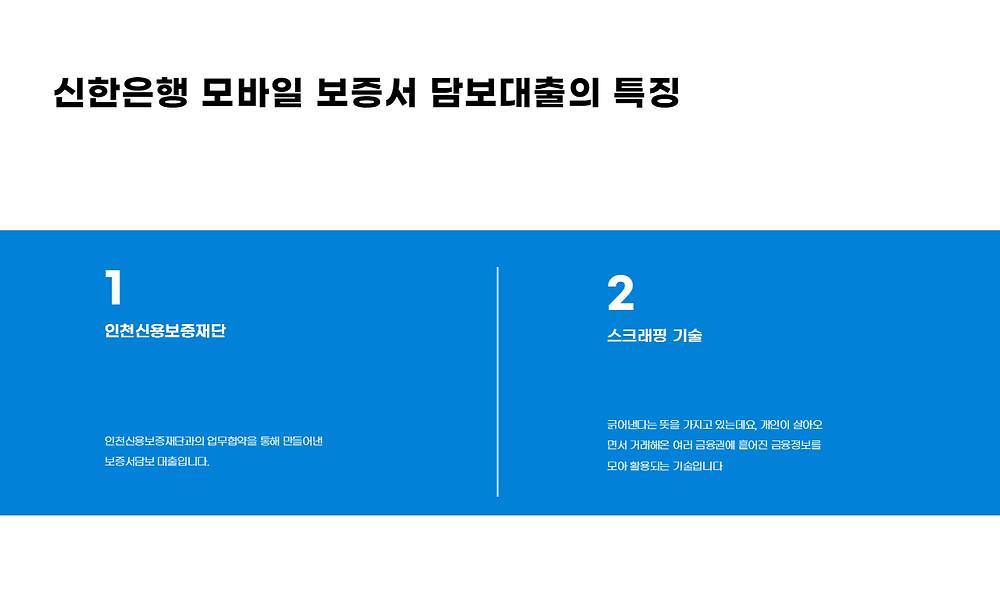 신한은행 모바일보증서 담보대출 특징