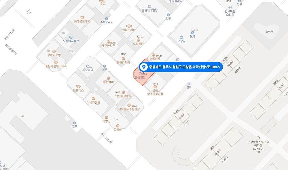 청주 오창읍 압구정스웨디시 지도