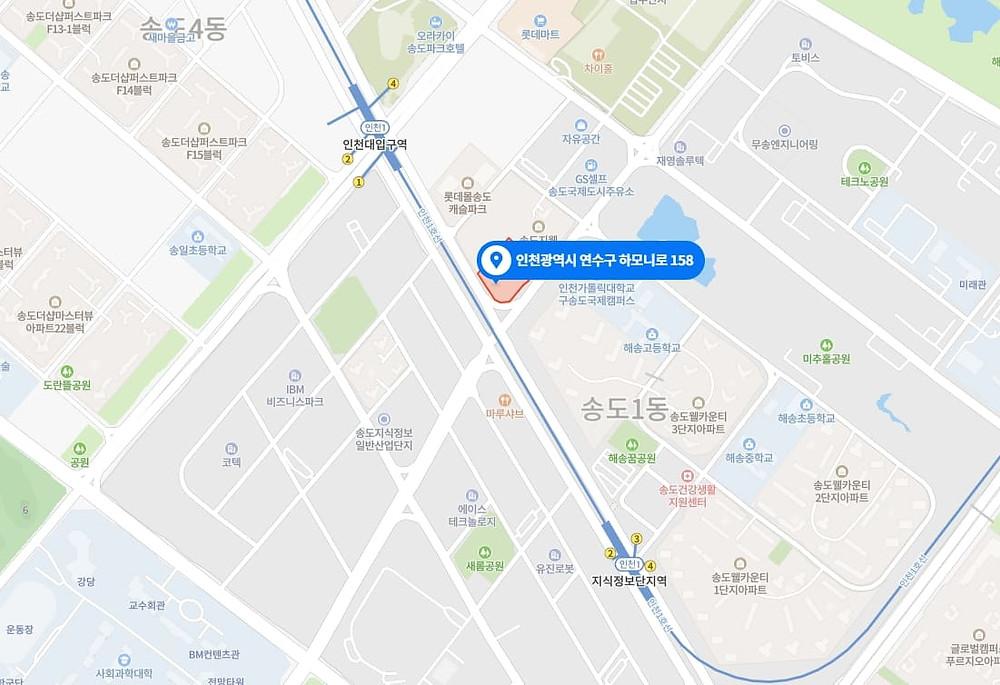 인천 송도동 겐죠스웨디시 지도