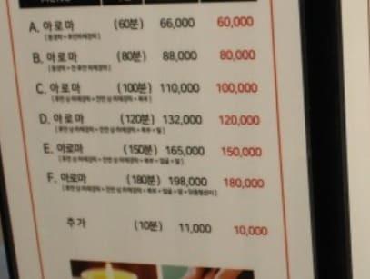 제주 남성전용 마사지 - 메뉴