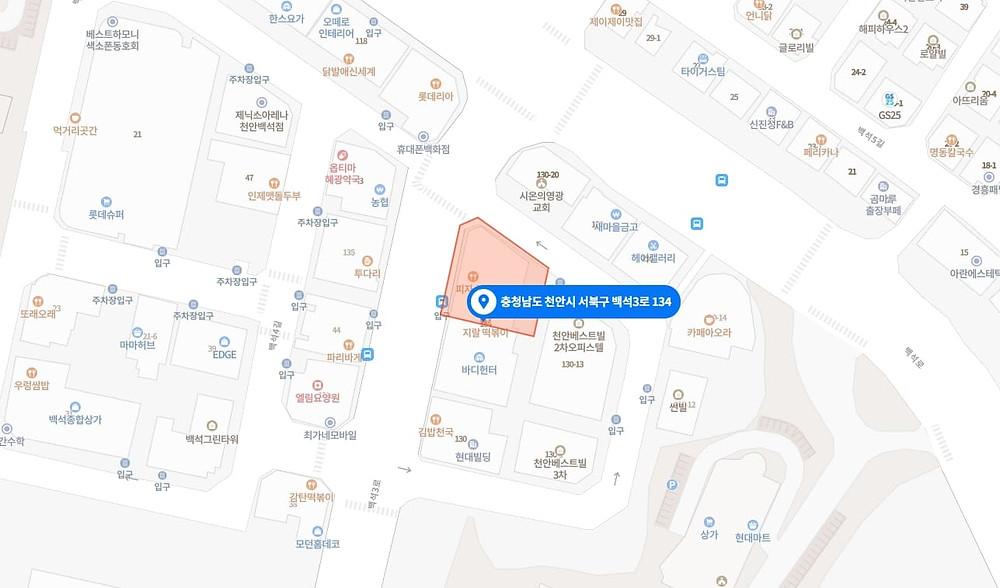 천안 백석동 샵테라피 지도