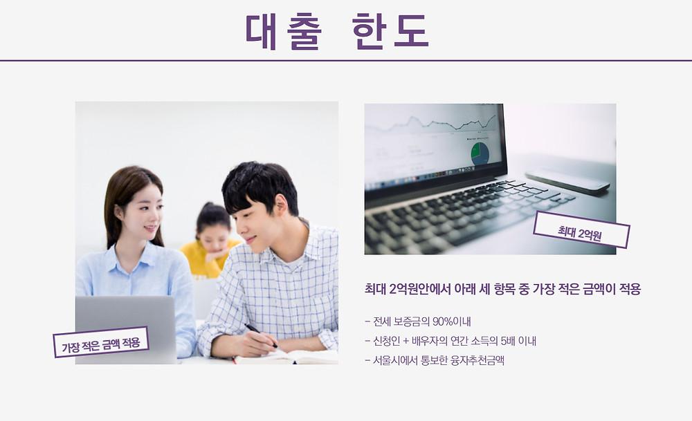 서울시 신혼부부 임대차 보증금 지원사업 대출 한도