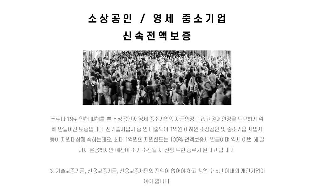 소상공인 / 영세 중소기업 신속전액보증