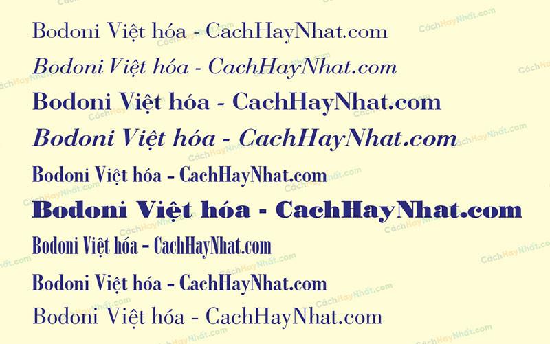 các mẫu font Bodoni Việt hóa