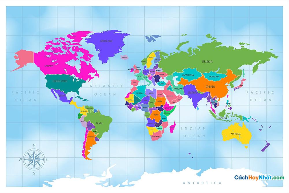 Bản Đồ Thế Giới flat design colorful political world map