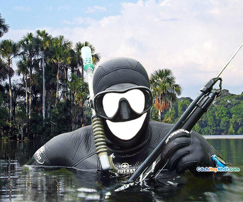 PSD ghép ảnh thợ lặn