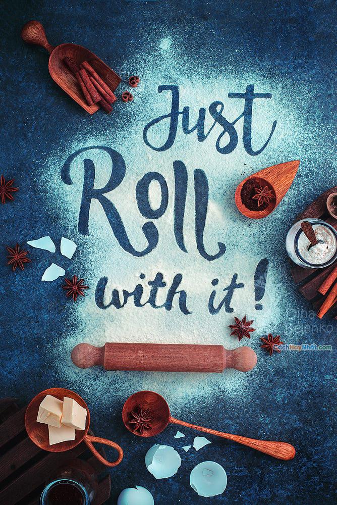 Thực phẩm nghệ thuật quảng cáo ý tưởng chế tác ảnh chỉ cuộn bởi dina