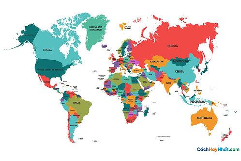Bản Đồ Thế Giới Political Map World Vector