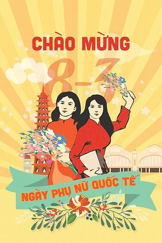 Poster Phông Ngày Quốc Tế Phụ Nữ 8/3 Vector AI 02