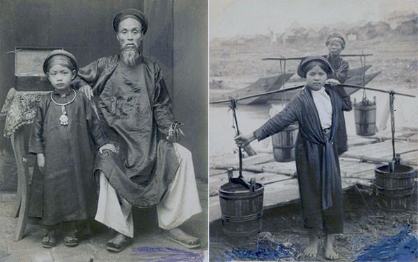 Một thầy thuốc ở Hà Nội xưa với móng tay để dài. Cậu bé bên cạnh có lẽ là con trai (ảnh trái); những người phụ nữ lấy nước ở bến sông Hồng (ảnh phải).