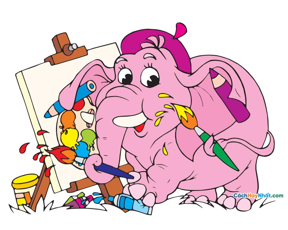 con voi vẽ tranh - elephant painting