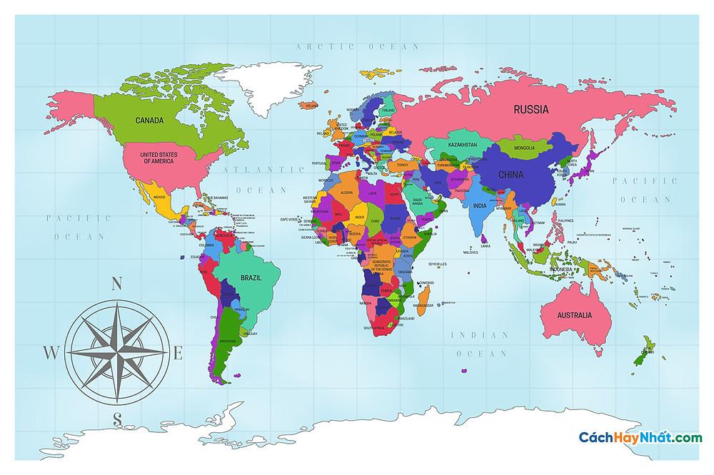 Bản Đồ Thế Giới artistic political world map design