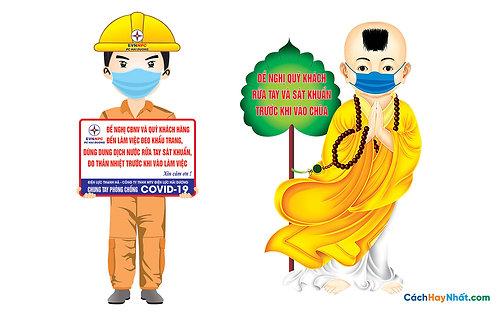 File Mockup Chibi Thợ Điện Chú Tiểu COVID-19 Vector Corel