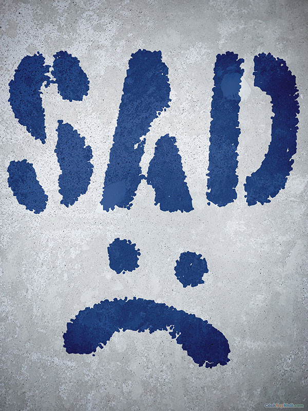 Nét vẽ khuôn mặt buồn - icon buồn với chữ SAD
