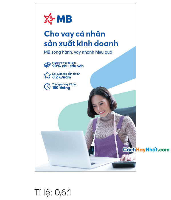 Pano Quảng Cáo Tấm lớn Cho vay Sản xuất Kinh doanh Độc Lập MBBank file Vector tỉ lệ 0,6-1