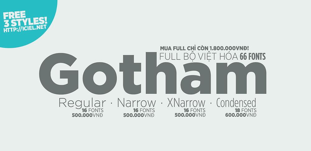Free Font iCiel Gotham Thin Gotham Medium Gotham Ultra Việt Hóa