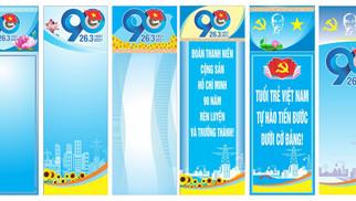 Nền Banner Phướn Đại Hội Đoàn TNCS Hồ Chính Minh 90 Năm Vector Corel CDR Part04