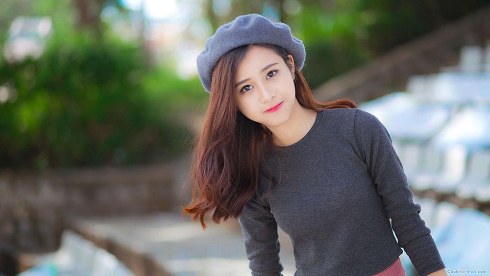 Ảnh gái xinh đội mũ, khuôn mặt trong sáng