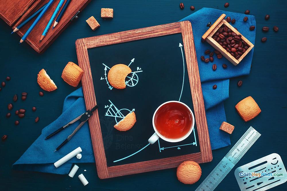 Ý tưởng quảng cáo nghệ thuật thực phẩm chế tác ảnh cà phê hình học của dina
