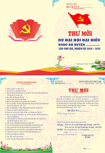 Invitation To The Party Congress Vector - Giấy Mời Đại Hội Đảng