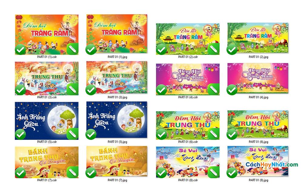 Download Free Mẫu Phông Tết Trung Thu Vector Corel CDR Part01