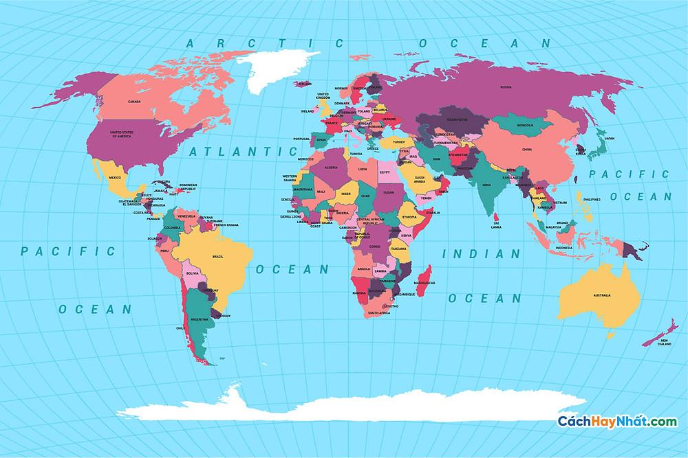 Bản Đồ Thế Giới colored political world map